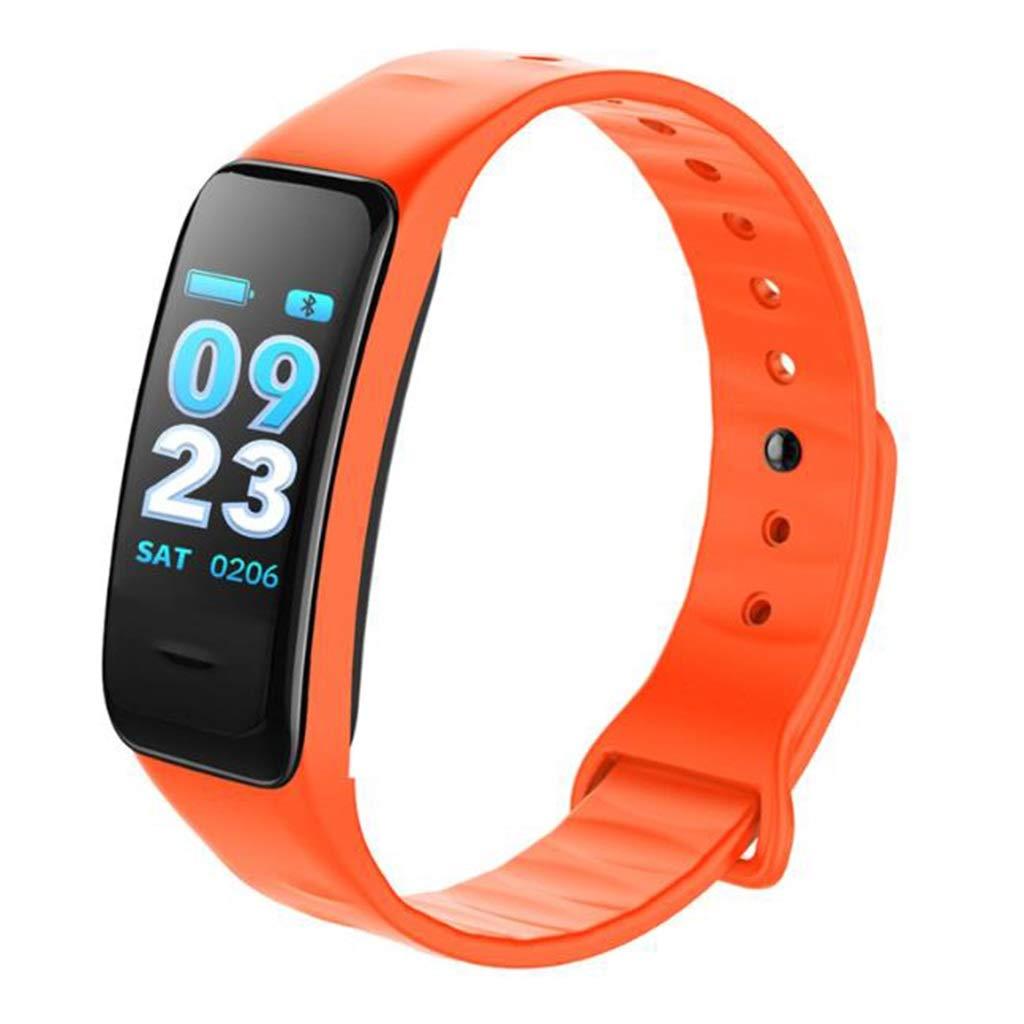 Qiyi Smart Sports Bracelet, Smart Bracelet, Heart Rate Sleep Monitoring Healthy Bluetooth Outdoor Sports Bracelet (Color : Orange)