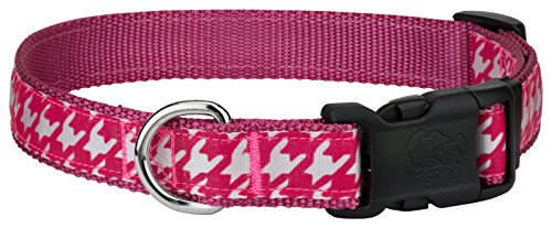 Country Brook Design   Deluxe Shock Pink Houndstooth on Rose Ribbon Dog Collar - Large