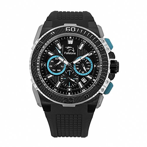 FALLSTONE Men's Japan Movement Quartz SS Case Watch, Analog Sports Waterproof Military Business Casual Wrist Watch for Men Silicone Band Strap, Calendar Date - Black, SS, Turquoise