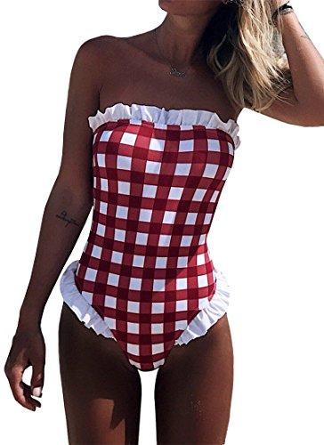 - Dellytop Women's Off The Shoulder Bikini Swimsuits Plaid Ruffle One Piece Bathing Suit Swimwear Red XL
