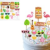Luau Party Glitter Cupcake Topper Sticks 18 Different Styles (36 pcs Total) Hawaii Tropical Summer Party Decorations Supplies