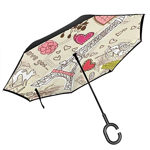 Car Reverse Umbrella,Doodles Illustration Of Eiffel Tower Hearts Chandelier Flower Love Valentines Vintage,With C-Shaped Handle