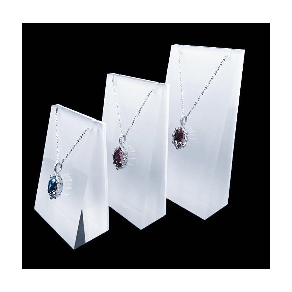 Necklace Display Stand Fine Exhibition Jewelry Holder White Acrylic Store Gallery Trade Shows (Set of 3)