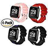 Spessn Fitbit Versa Bands, Adjustable Silicone Replacement Wrist Sport Strap Universal Size Unisex Smart Watch Wristband for New Fitbit Versa Smart Fitness Watch(4 Pack