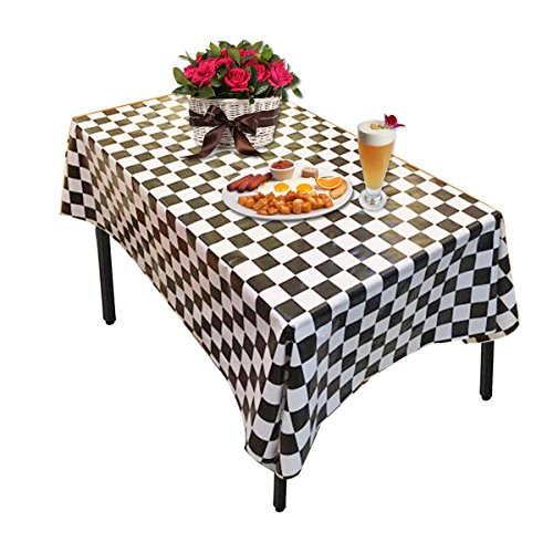Plastic Tablecloths,OWEV 3 Pack Plastic Checkered Tablecloths for Kitchen, Dining Room or Picnic Table