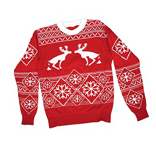 FunQi Gifts Men's Pooping Moose Ugly Christmas Sweater Medium Red by FunQi Gifts (Image #2)