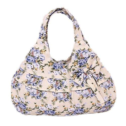 Handbag Flower Catkit Shoulder Floral Bowknot Bag Tote Printed Womens Hobo Ruffles Canvas Blue wq4p8wF
