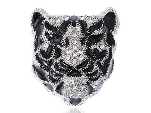 Alilang Sleek White Rhinestone Crystal Black Panther Tiger Leopard Kitty Cat Warrior Head Pin Brooch