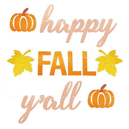 Happy Fall Y'all Banner Glitter Fall Party Bunting Garland Thanksgiving Day Pumpkin Party Decorations
