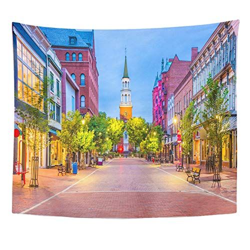 Emvency Tapestry Artwork Wall Hanging Town Burlington Vermont USA at Church Street Marketplace Scenery 50x60 Inches Tapestries Mattress Tablecloth Curtain Home Decor Print
