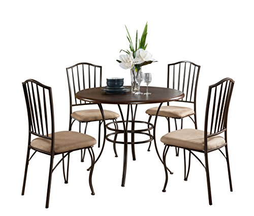 Pilaster Designs - 5 PC. Set Round Wood & Metal Dining Room Kitchen Table And 4 Chairs