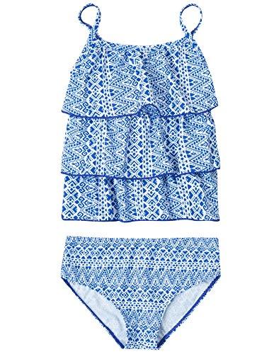 (ATTRACO Girls Cute Tankini Swimsuit 2 PCS Ruffle Bathing Suit Blue 0-6 Months)