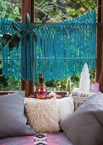 Teal Blue Handmade Boho Window Curtain Tapestry Hanging