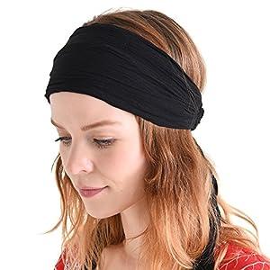 Best Epic Trends 51pp9DOX6HL._SS300_ CHARM Womens Headband Boho Headwrap - Turban Head Wrap Festival Retro Hair Accessory Pirate Hairband Black