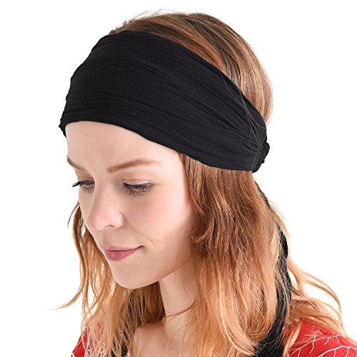 CHARM Casualbox | Womens Headband Head Scarf Turban Wrap Festival Retro Hair Accessory Black
