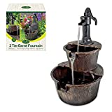 GardenKraft 20890 2-Tier Barrel Water Fountain with Pump - Bronze