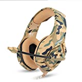 Cheap PS4 Gaming Headset, Ounikuma K-1 Desert Camo Xbox One Gaming Headphones with Rotate Soft Microphone and Adjustable Head Band for Computer, PS4, Xbox, Laptop and Smartphone