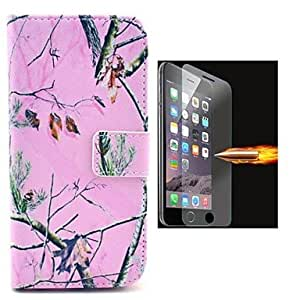 JOE Pink Design PU Leather Full Body Case with Explosion-Proof Glass Film for iPhone 6 Plus