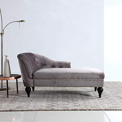 Divano Roma Furniture Modern and Elegant Kid's Velvet Chaise Lounge for Living Room or Bedroom (Light Grey) ()