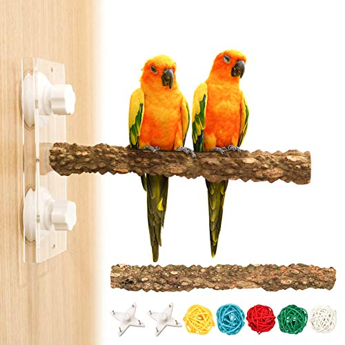 S-Mechanic Bird Stand Perch,Natural Wood Bird Stand Cage Accessories Toy for Parakeets Cockatiels Conures Lovebirds