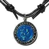 Native Treasure - Original St. Christopher Blue Surfer Medal Necklace, Black Leather Choker