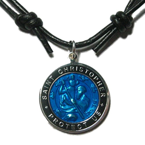 Native Treasure - Original St. Christopher Blue Surfer Medal Necklace, Black Leather Choker