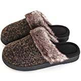 ULTRAIDEAS Women's Comfort Memory Foam Slippers Wool Blend Fuzzy Coral Fleece Lined Slip on House Shoes with Indoor Outdoor Anti-Skid Rubber Sole