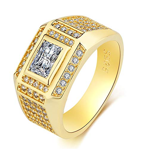 SENTERIA Mens Hip Hop Iced Out Ring Wedding Engagement Ring 18K Gold Plated Punk Mens Jewelry Embedded with AAA Zircon Mens Bling Ring Wide Size 7-12 Jewelry Gifts Packing