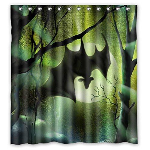 Custom Bright Moon Bat Hanging on Tree Waterproof - Bat Shower Curtain