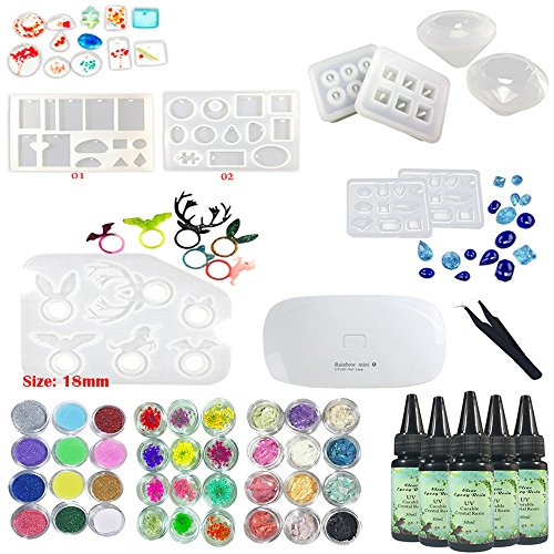 5 Pieces 30ML Crystal Epoxy Resin UV Glue,1 Pcs Mini UV LED Lamp, 1 Tweezer 3 Kit Set Decoration, 9Pcs Transparant Silicone Molds For Handcraft Jewelry Earrings Necklace Bracelet Nail Art