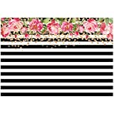 TOOGOO(R) 7x5ft photography backdrops Black and white stripe watercolor pink flower banner Birthday party wedding bridal shower decoration photo studio booth background photocall Style4