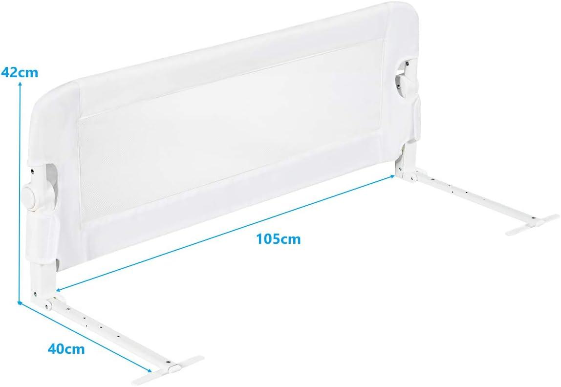 105x42cm, Blanco COSTWAY Riel de Cama Plegable Barandilla para la Cama Protecci/ón para Beb/é Barrera de Cama para Cama Individual//Cama Matrimonial