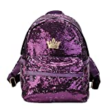 Donalworld Women Sequin Backpack Bling Paillette Glitter School Bag M Purple