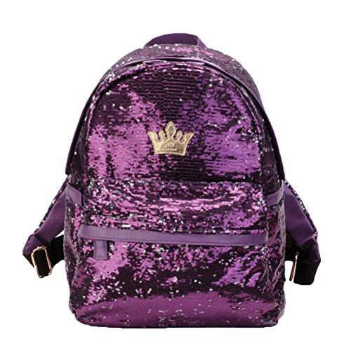 Donalworld Women Sequin Backpack Bling Paillette Glitter School Bag M Purple by Donalworld