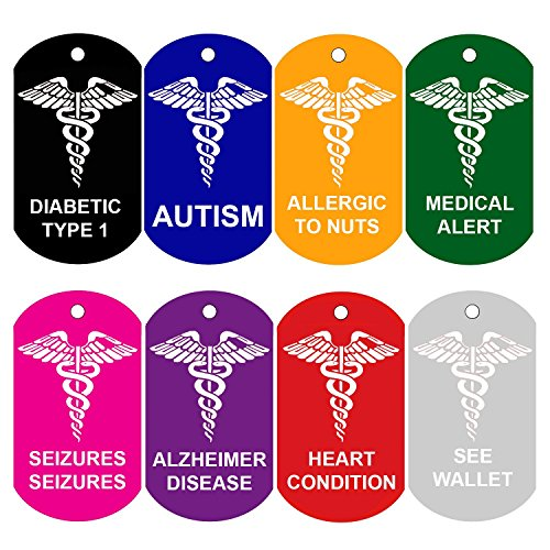 Picture of 2 Medical Alert ID Tags | Personalized FRONT AND BACK | Medical Alert | Medical Pet Tag Dog Tag by CNATTAGS (Pink)