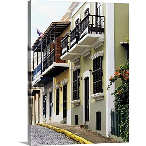 GREATBIGCANVAS Gallery-Wrapped Canvas Entitled Low Angle View of Balconies of Buildings, Old San Juan, San Juan, Puerto Rico by 27
