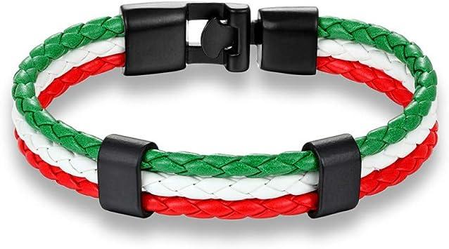 Pulsera De Cuero para Hombre, México Rusia Italia Bandera Nacional ...