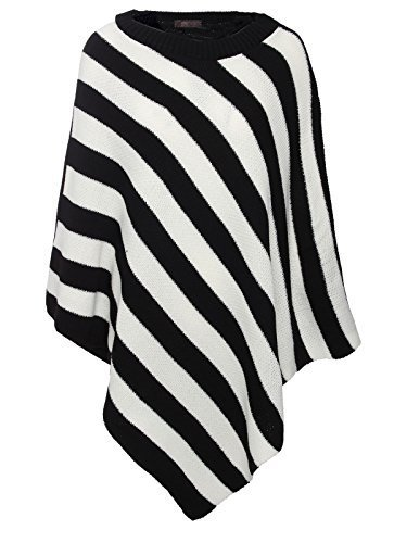[Envy Boutique Women's Knitted Winter Poncho Wrap Shawl Cape One Size Fits All - Black / White] (Black And White Cape)