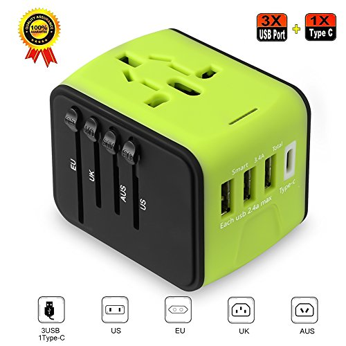 Universe Travel Adapter, International Power Adapter with 2.5A 3 USB and 1 Type-C, All in One Power Adapter for US UK EUROPE AUSTRALIA - Green