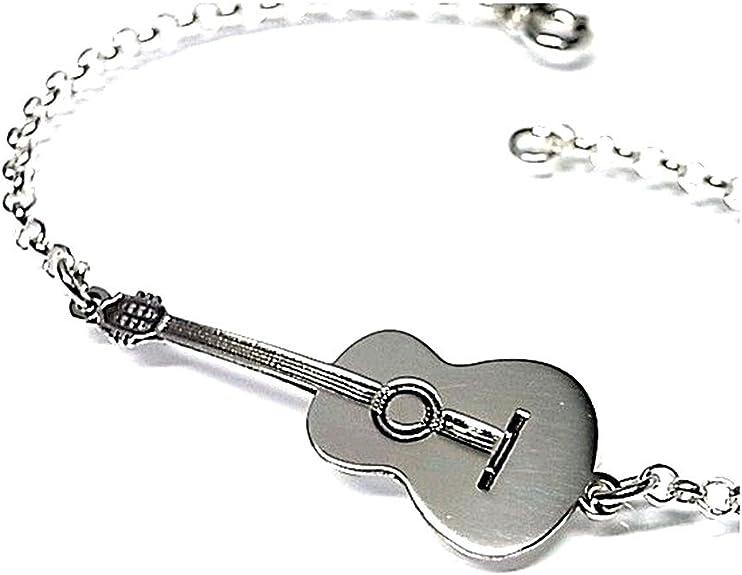 Pulsera plata ley 925m guitarra española 35mm. cadena rolo [AB0175 ...