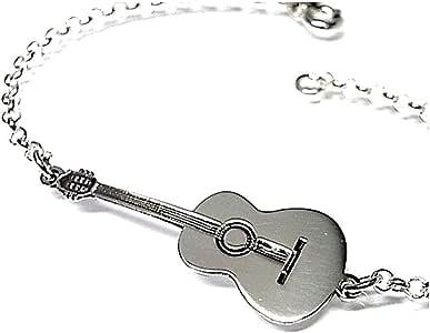 Pulsera plata ley 925m guitarra española 35mm. cadena rolo [AB0175]: Amazon.es: Joyería