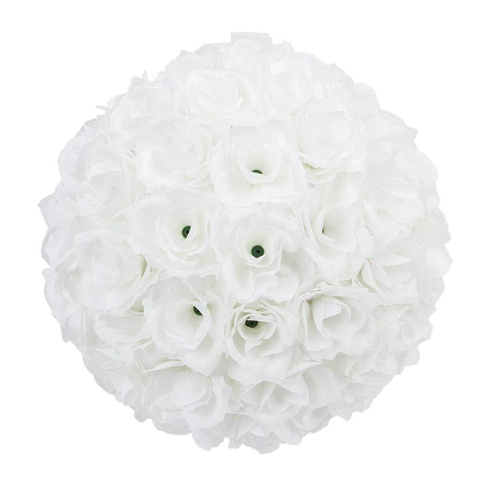 Tuweep Pure White 25cm Flower Ball Bridal Favor Ball Rose Silk Wedding Decoration US