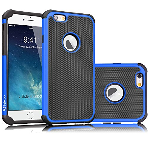 iPhone 6S Case, Tekcoo(TM) [Tmajor Series] iPhone 6 / 6S (4.7 INCH) Case Shock Absorbing Hybrid Best Impact Defender Rugged Slim Cover Shell w/ Plastic Outer & Rubber Silicone Inner (Blue Rubber Cover)