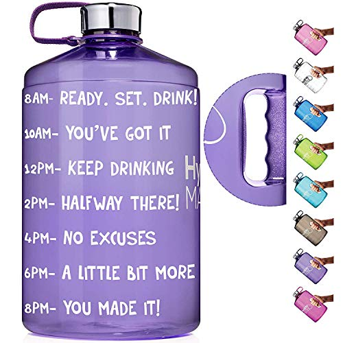 HydroMATE 1 Gallon Motivational Water Bottle with Time Marker Large BPA Free Jug with Handle Reusable Leak Proof Bottle Time Marked to Drink More Water Hydro MATE 128 oz (Light Purple)