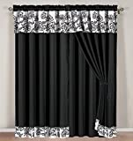 4 Piece Black, Grey and White Floral Embroidered Curtain set with attached Valance and Sheers Review