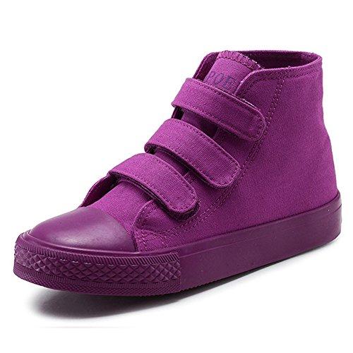 Boy's Girl's High-Top Casual Strap Canvas Sneakers, Purple, Little Kid, Size - Purple Kids Shoes