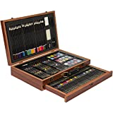 Best Choice Products 140pc Art Set Wood Easel Artist Drawing Color Pencils Crayons W/ Wooden Case