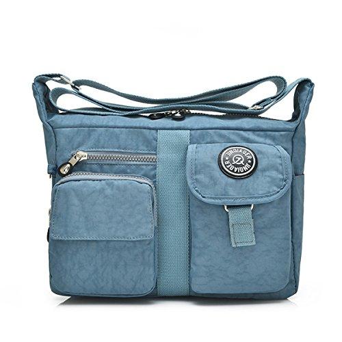 Casual Cross Design Girls Multiple Pockets Womens Shoulder Blue Bag Nylon for Light body Bag Messenger TianHengYi XqtzOO