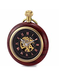 Carrie Hughes Roman Copper and Wood Mechanical Pocket watch Steampunk skeleton Black CHPW18