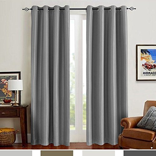 Faux Silk Satin Blackout Curtains for Living Room Luxury Dupioni Thermal Insulated Grommets Top Drapes for Bedroom, (50-inch x 84-inch, Grey, Pack of Two) (Dupioni Curtains)